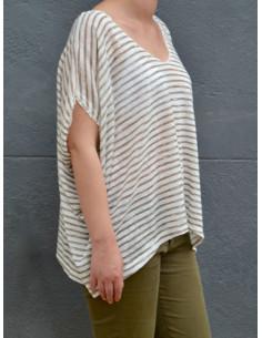 Pull lin coton marinière manches courtes - Blanc