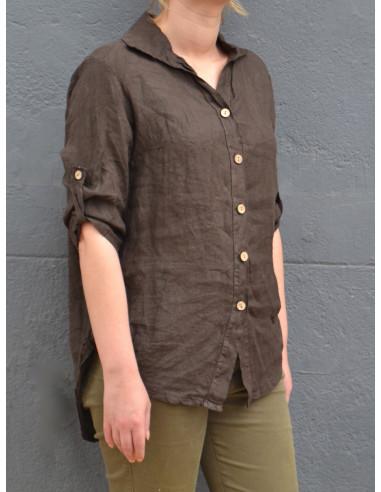 Chemise femme pur lin marron foncé chocolat cintrée