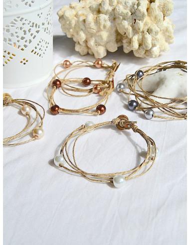 """Pack de 6 bracelets en lin et perle """"ÉTOILE"""""""