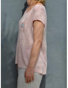 T shirt femme en maille 100 % lin motif étoile - Rose pale