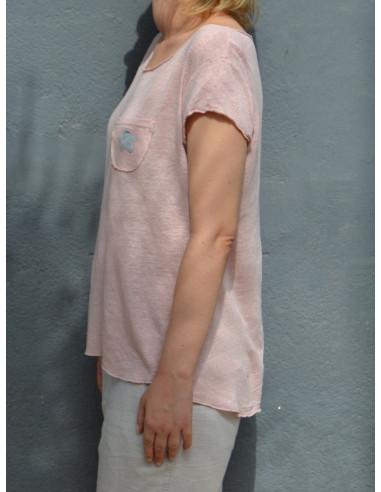 T shirt femme en lin Tee shirt femme rose pale en maille. Poche sur la poitrine avec motif étoile. Haut 100 % lin rose poudré