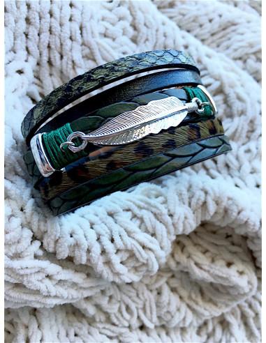 manchette aimantée en cuir fermoir aimanté bracelet plusieurs lanières nacrés