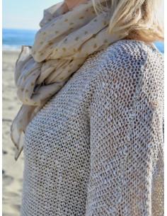 Foulard fluide motif petits coeurs marrons - Beige