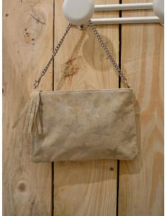 Petit sac bandoulière, pochette en cuir étoiles pailletées - Beige