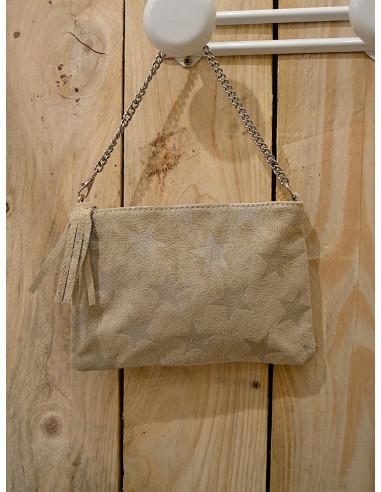 Pochette en cuir de vachette beige avec étoile paillette sac en peau étoiles pailletées anse en chaine beige made in italy