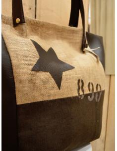 """Sac cabas """"STAR"""" N&L avec étoiles et chiffres - Toile de jute, tissu marron et simili cuir chocolat"""