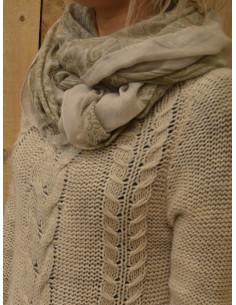 Foulard fluide motif cachemire - Beige et kaki