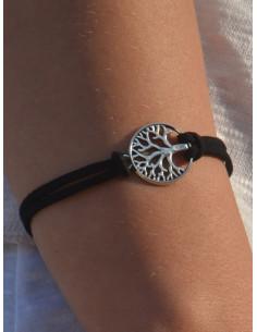 Bracelet suédine arbre de vie - Noir