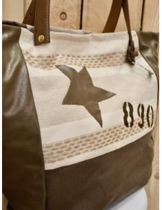 Sac a main cabas nature et lin motif étoile lettre numéros toile rayé beige et blanche tissu marron glacé simili cuir imitation