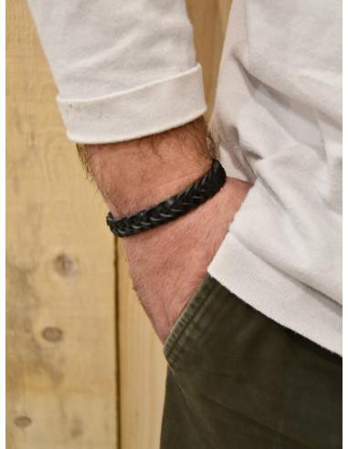 Bracelet en cuir pour homme noir cuir tressé fermoir boucle rectangle en acier couleur argent