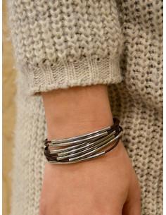 Bracelet cuir femme 7 cordons avec perles argentées - Marron