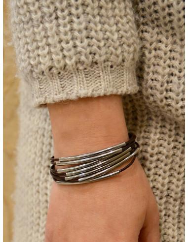 Bracelet en cuir femme plusieurs lanières avec perles couleur argent fermoir boucle rectangle en acier bracelet marron en cuir