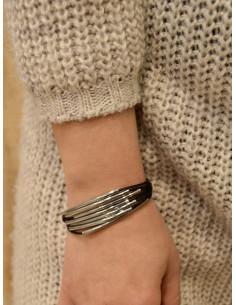 Bracelet cuir femme 7 cordons avec perles argentées - Noir