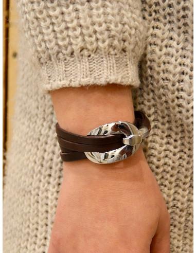 Bracelet en cuir pour femme marron avec grosse boucle argent en acier bracelet lanières en cuir plat