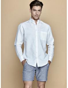 Chemise homme blanche manches longues effet lin blanc idéal pour cérémonie