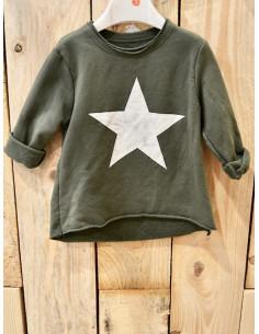 Sweat jogging fille avec motif étoile kaki du 1 an au 5 ans