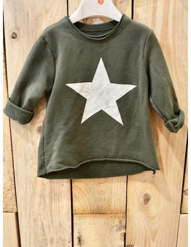 Haut de survêtement fille kaki avec motif étoile sweat jogging en coton 1 an 2 3 4 5 ans