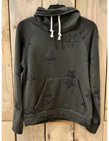 Haut de survêtement fille kaki avec motif étoile pailletées sweat jogging en coton 4 6 8 10 12 14 ans