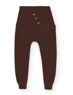 Pantalon jogging sarouel pour femme en coton - Marron