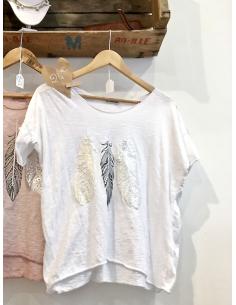 T shirt pour femme en coton blanc motif plumes nacrées en relief made in italy style boheme boho
