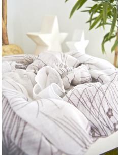 Foulard blanc viscose fluide blanc pour femme avec motif imprimé fleurs marron taupe