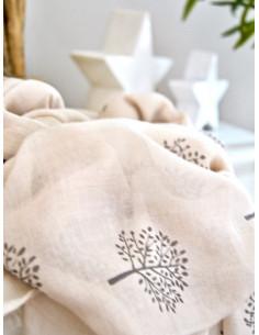 Foulard fluide beige pour femme imprimé motif arbre de vie