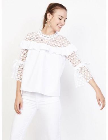 blouse femme blanche en dentelle col montant boh me chic. Black Bedroom Furniture Sets. Home Design Ideas