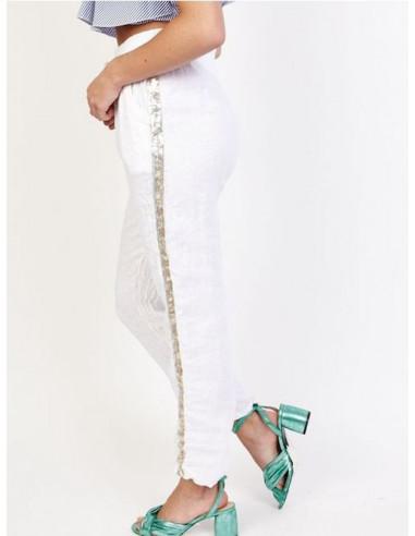 Pantalon femme en lin blanc avec bande de liseré en sequins paillettes sur le coté made in italy taille haute coupe droite