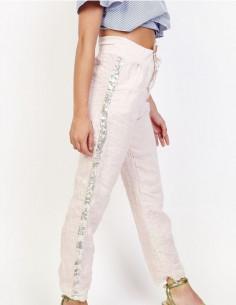 Pantalon en lin rose pale poudré pour femme avec bande de liseré sur les cotés en sequins pailletés made in italy taille haute