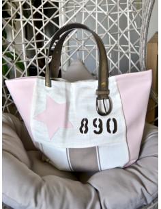 """Sac cabas """"STAR"""" étoile, lettre N&L et numéro - Lin blanc, toile rayé beige et blanc et simili cuir rose pale poudré"""