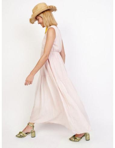 robe longue été 2017 femme rose pale poudré pastel bohème chic dentelle crochet col V