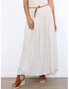 jupe longue en voile de coton beige taille haute fluide chic vêtement femme made in italy