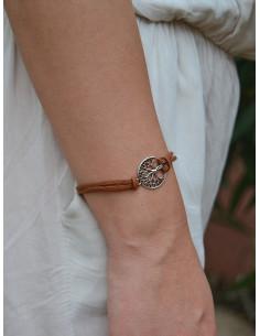Bracelet suédine arbre de vie - Marron