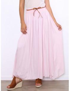 Jupe longue en satin de soie rose pale