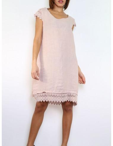 Robe rose pale poudré 100 % en LIN avec dentelle macramé coupe droite été made in italy