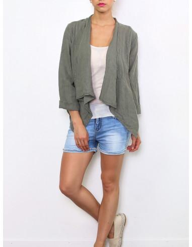 Veste kaki veste en lin pour femme made in italy veste chic lin col cascade vertement fabrication italienne