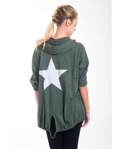 Veste en coton étoile au dos avec capuche - Kaki