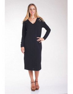 Robe femme mi longue col V manche longues tissu fluide viscose made in italy