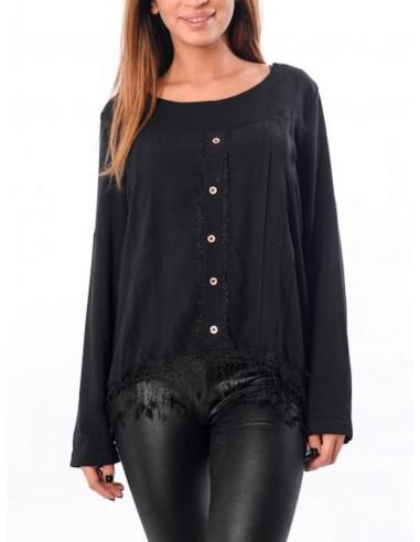 tunqiue a franges pour femme noire manche longue dentelle blouse fluide pour femme avec franges manches longues