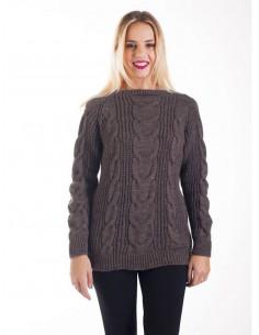 Pull femme torsadé avec laine et mohair col bateau - Taupe