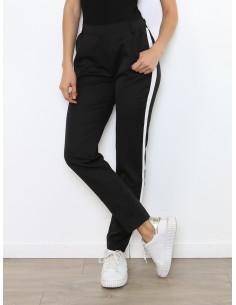 Pantalon chino femme bande blanche sur le coté - Noir