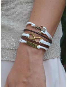 Bracelet femme multirangs bicolore en suédine - Blanc et marron - infini, ancre, plaque love