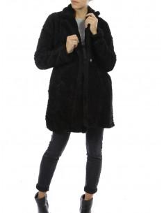 Manteau pilou pilou pour femme long noir