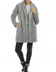 Manteau pilou pilou femme gris veste fausse fourrure manteau long tout doux chaud made in italy cosy