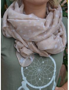 Foulard femme fluide motif étoiles blanches et pois - Beige clair