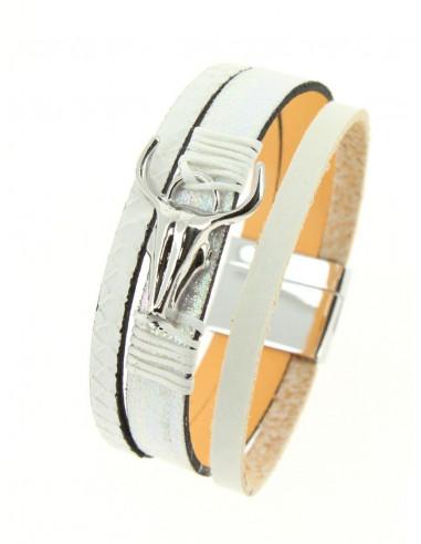 Manchette aimantée en cuir nacré blanche tete de buffle argent bracelet aimant femme taureau