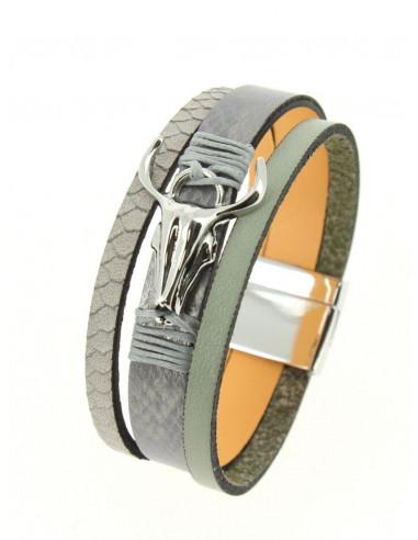 Manchette aimantée en cuir nacré kaki grise tete de buffle argent bracelet aimant femme taureau