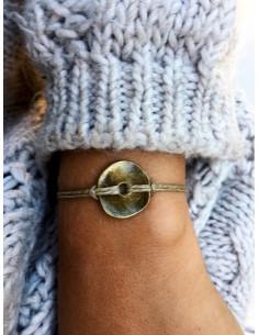 Bracelet en lin médaillon BOUTON martelé bronze