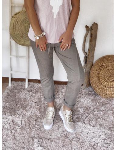 Pantalon femme taupe jogg fabrication italienne jogging chic en coton pour femme empiècement stries