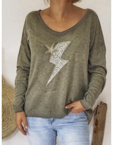 Pull femme col v fin avec laine motif eclair et etoile made in italy style rock kaki motif etoile pailletée